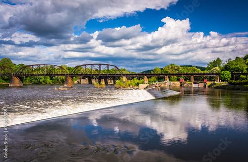 Dam and train bridge over the Delaware River in Easton, Pennsylv