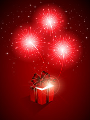 Red firework and gift box