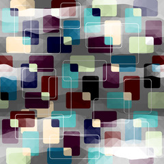Retro geometric pattern on gray pixels background.