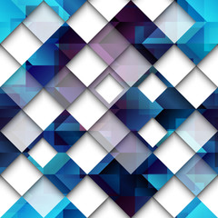 Blue geometric abstract pattern of squares.