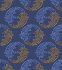 Repaint seamless pattern: fish