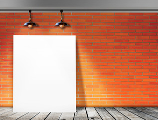 Poster standing in Brick wall with Ceiling lam