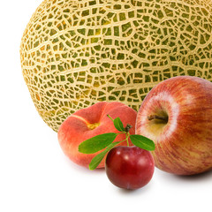 Isolated image of peach, plum,melon and apple