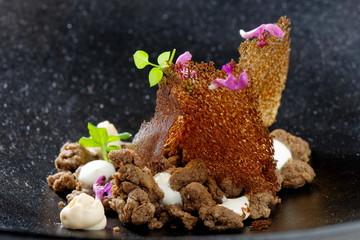Delicious gourmet food, buckwheat mush witk caramel