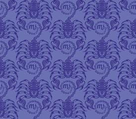 Repaint seamless pattern: blue scorpions