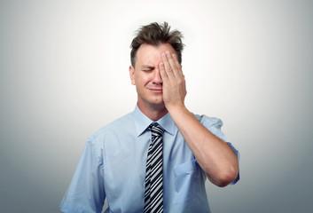 What to do? Fear businessman, facepalm concept crisis