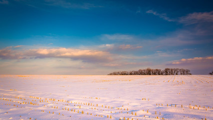 Evening sky over a snow-covered farm field in rural Carroll Coun