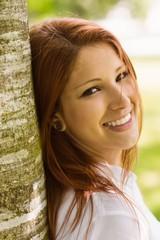 Portrait of a pretty redhead smiling
