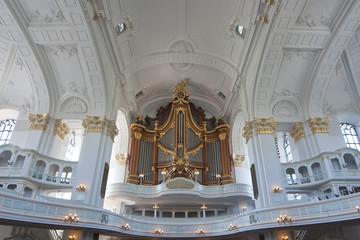 antique german white church organ
