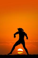 Muay thai at sunset