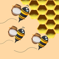 three bee carrying honey jar back to the honeycomb
