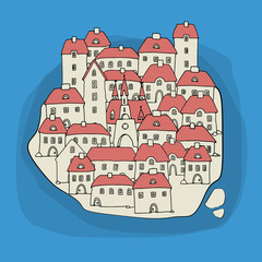 Cartoon hand drawing houses on island, vector