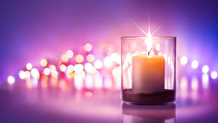New year Romantic night with candlelight and bokeh background