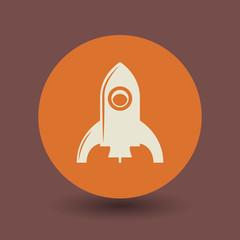 Retro rocket symbol, vector