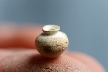 the smallest clay pot. pot on a potter's finger
