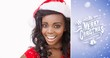 Composite image of woman wearing a santa claus hat