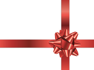 GIFT BOW (vector red Christmas present ribbon)