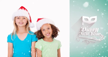 Composite image of girls with christmas hats
