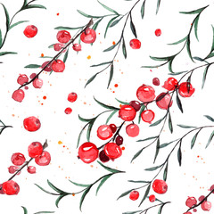 Seamless pattern with red currants and rosemary