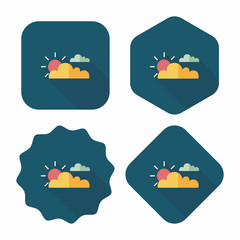 Sun and Cloud flat icon with long shadow,eps10