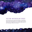 Watercolor space texture with stars and copyspace