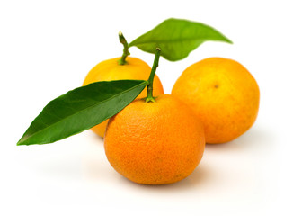 ripe tangerines isolated