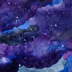Watercolor space texture with stars