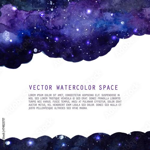 Fototapeta samoprzylepna Watercolor space texture with stars and copyspace