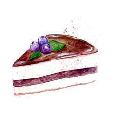Slice of  cake with chocolate icing and blueberry
