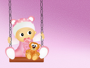 baby female on swing