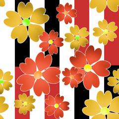 Flowers retro seamless pattern white black striped background