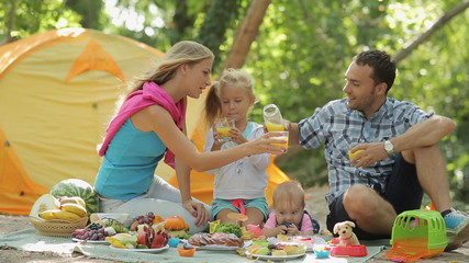 Family of four having picnic in the forest