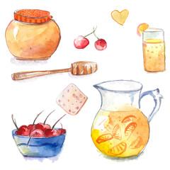 Honey pot with dipper, jug and orange lemonade