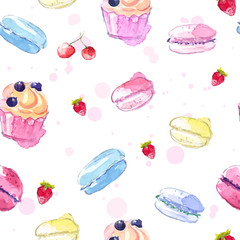 Seamless pattern with  watercolor desserts