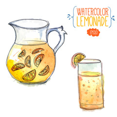Jug of lemonade with glass of orange juice