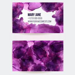 Business card template with watercolor paint spots