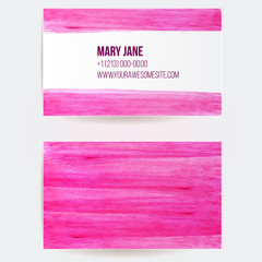 Business card template with pink paint strokes