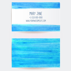 Business card template with blue marker strokes