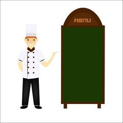 Chief chef cook in kitchen luxury restaurant in uniform illustra
