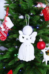Knitted Christmas angels and other decorations