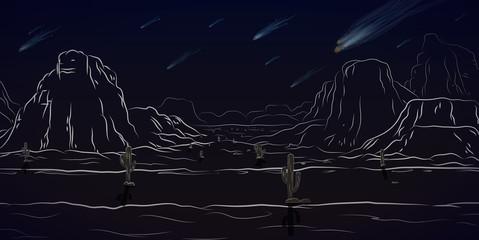 Comet west landscape black and white