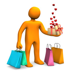 Manikin Shopping Bags Gift Hearts