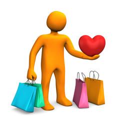Manikin Shopping Bags Heart