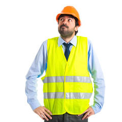 Workman having doubts over white background