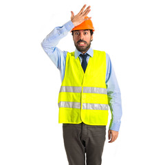 worker having doubts over white background