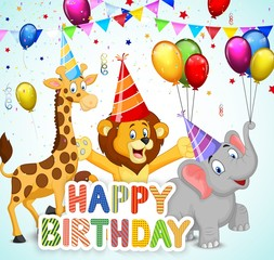 Birthday background with cartoon lion, giraffe and elephant