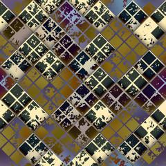 Grunge diagonal mosaic tile.