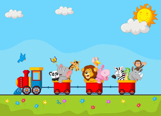 Birthday background with happy animal on train