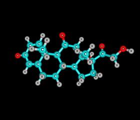 Prednisone molecule isolated on black