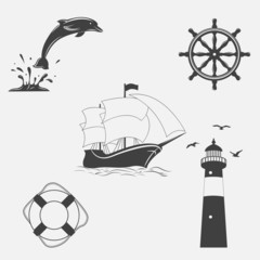 Set of vintage patterns on nautical theme.